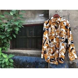 🚚 復古懷舊摩登幾何長袖襯衫 vintage中長古著男女襯衣 阿哥哥時代 萬花筒年華 打底衫上衣