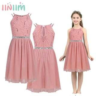 Teen Girls Sleeveless Sequined Floral Lace Shiny Dress Vestido de festa for Weeding Formal Birthday Party Summer Dresses