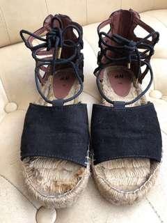 H&M 黑色綁繩涼鞋