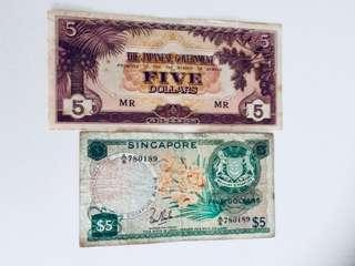 Old $5 Singapore Historical Notes