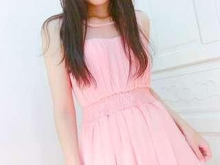 女神😍超顯瘦氣質粉色透紗顯瘦長洋裝