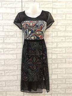 Black Lace Printed Dress 0013