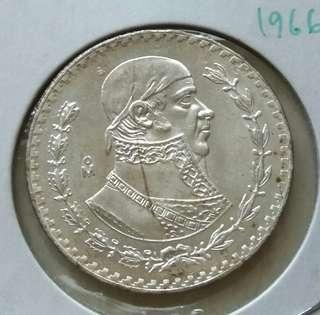 Mexico 1966 Peso Silver Unc Coin With Luster