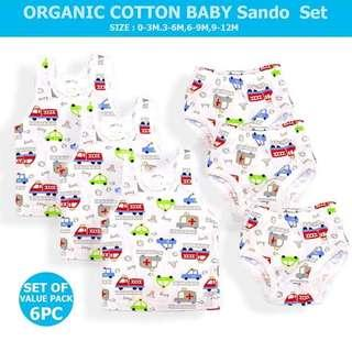 3 Set Baby Cotton Sando and Shorts - WHITE CAR