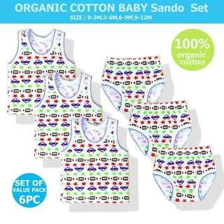 3 Set Baby Cotton Sando and Shorts - BLUE CAR