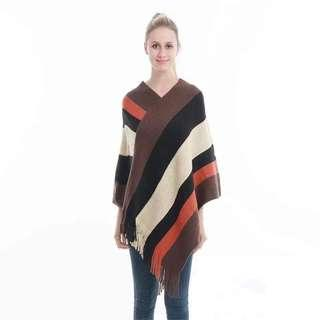 Striped Knitted Ponchos