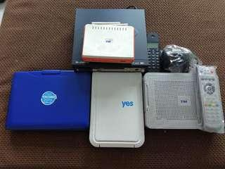 Portable DVD. Normal DVD. TM router and Yes router.Motorola Standard Wireless Phone