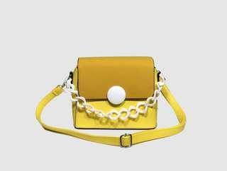 Flap Color Block Plastic Chain Crossbody Bag