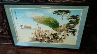 60年代鳳凰貝殼畫$680,木邊有花,貝殼無甩,長90高60cm