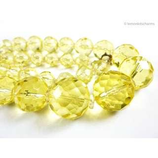 Vintage 1930s Art Deco Yellow Crystal Necklace, nk638