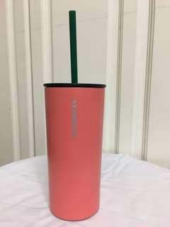 Starbucks Tumbler Coral with Straw, 12oz