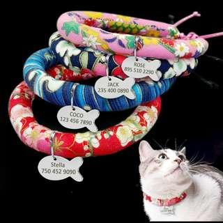 Floral Cat Collar  Personalized Pet ID Tag