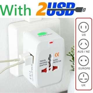 萬用旅行轉換通用插頭(連2 USB 插孔)/萬用插蘇/插座/International Universal Travel Adapter/Travel Charger with 2 USB Ports