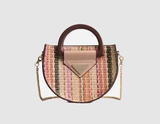 Semi Circle Straw Top Handle Crossbody Bag