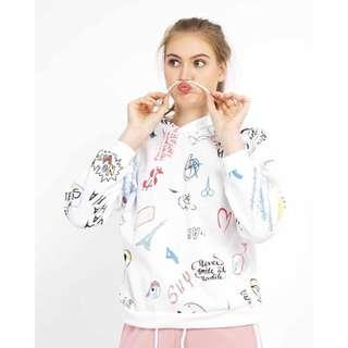 White abstract hoodie
