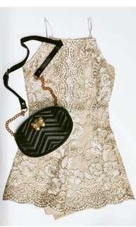 Temt gold lace short jumpsuit