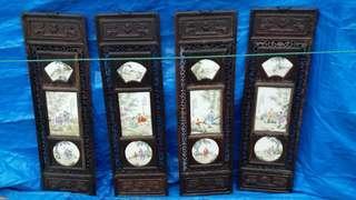 民國名家王奇瓷板畫$8500,舊酸枝木架,雕福鼠通花,長36.5高120cm