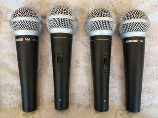 Shure 14A vocal cardoid dynamic microphones / Pro Karaoke or Band Rehearsal
