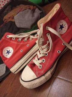 Converse red high cut