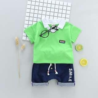 🚚 🌟PM for price🌟 🍀Baby Boy Casual Style Lapel  T-shirt+Shorts 2pcs Set🍀