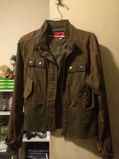Mint croxford crop jacket olive green