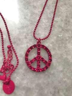 Lovisa Peace Sign Pink Necklace