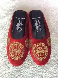 Cocue CNY Symbol Red Velvet Baby / Toddler / Kids Girl / Gals Slight Heeled Mules Casual Flats Slippers Sandals Shoes size 17cm