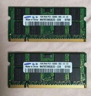 1 GB Laptop RAM 2rx8 Pc2-5300s-555-12-e3 Samsung