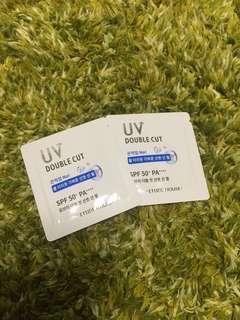 (包平郵)Etude House UV Double Cut Fresh Sun Gel SPA 50+ PA++++ (sample size)