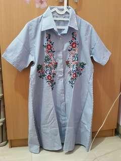 Dress ala Zara Embroidery Stripe