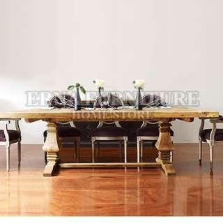 Country Style Solid Elm Wood Dinning Table