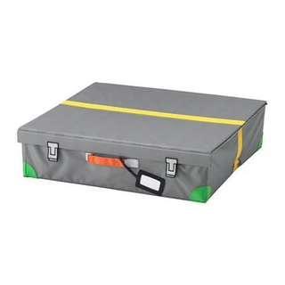 FLYTTBAR Bed storage box, dark grey, 58x58x15 cm