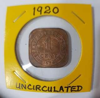 1920 KING GEORGE V  1 CENT COIN.   ALMOST NEW