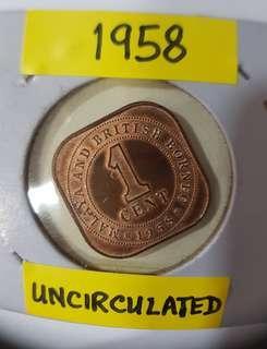 1958 QUEEN ELIZABETH II  UNCIRCULATED 1 CENT COIN
