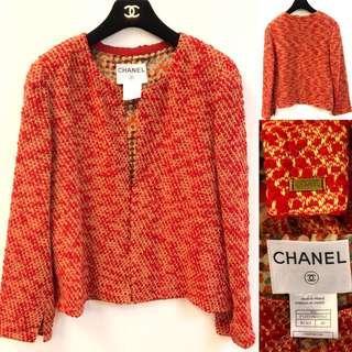 Chanel vintage red jacket coat size 40