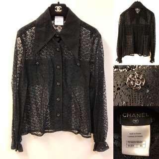 Chanel black lace shirt size 40