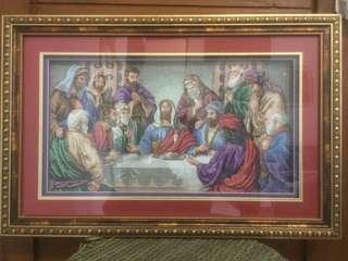 Cross Stich / Kristik Handmade Perjamuan Kudus Yesus - Paskah - Hadiah Natal