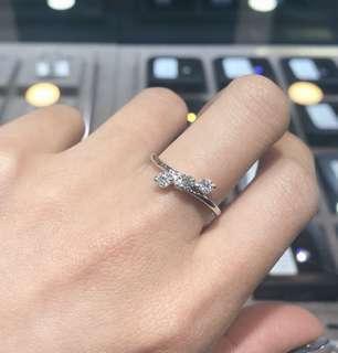 ❄️18K 白金三石款鑽石戒指💍