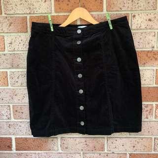Plus size black cord skirt