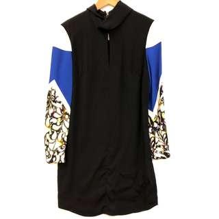 斯文裙 Peter Pilotto black with blue white pattern dress size 6