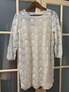 🚚 Forever21白色蕾絲長袖洋裝M號