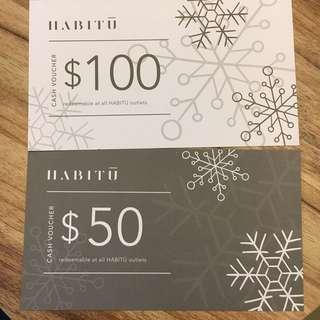 包郵Habitu $150 現金券