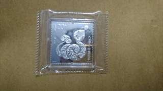 蛇年 中國郵政 銀郵票 銀章 10克