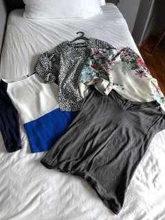 Bundle of 4 tops and a brand new maxi dress (Massimo dutti, Zara, old navy)