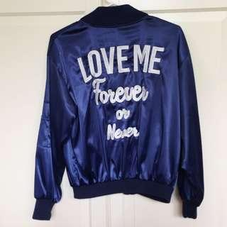 Navy embroidery bomber jacket