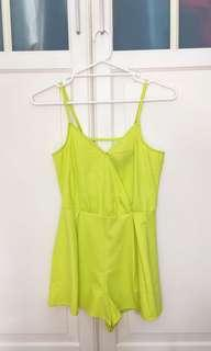 Mink pink neon green playsuit