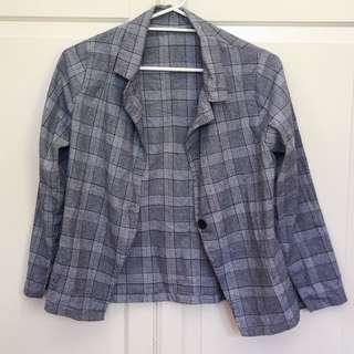 Checked cardigan blazer style