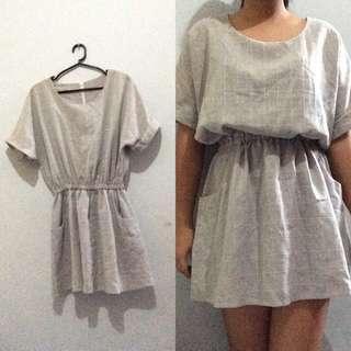 Gray Grid Dress
