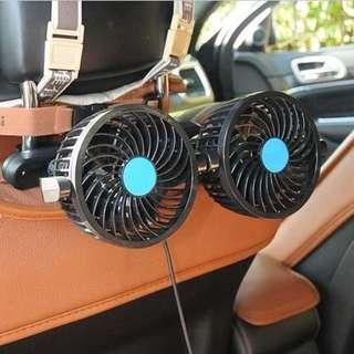 汽車後排椅背12V車用雙頭風扇
