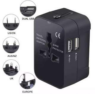 Universal Travel Adapter with Dual USB Port Charger Plug Converter Adaptor